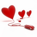 3 red hearts on line